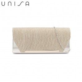 UNISA Duo-Texture Metal Bar Dinner Clutch-Gold