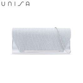 UNISA Duo-Texture Metal Bar Dinner Clutch-Silver