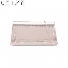 UNISA Debossed Clutch With Glittering Stones Embellishment-Apricot