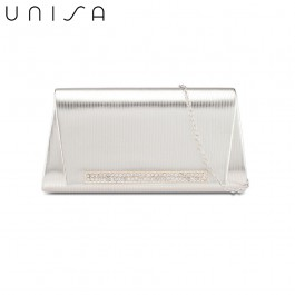 UNISA Debossed Clutch With Glittering Stones Embellishment-Gold