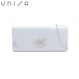 UNISA Dinner Clutch With Glittering Stones Embellishment-Silver