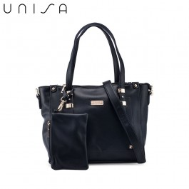UNISA Faux Leather Convertible Tote Bag With Wristlet Pouch-Black