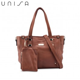 UNISA Faux Leather Convertible Tote Bag With Wristlet Pouch-Brown