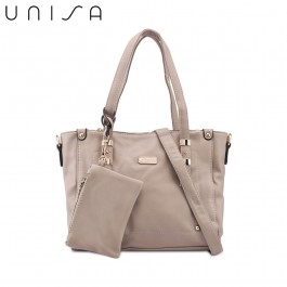 UNISA Faux Leather Convertible Tote Bag With Wristlet Pouch-Taupe