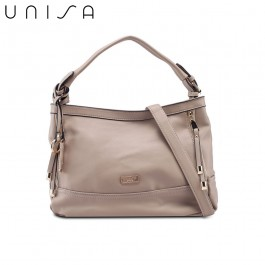 UNISA Faux Leather Convertible Top Handle Bag-Taupe
