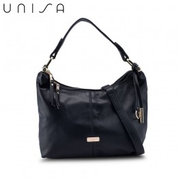 UNISA Faux Leather Convertible Hobo Bag-Black