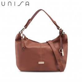 UNISA Faux Leather Convertible Hobo Bag-Brown