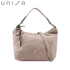 UNISA Faux Leather Convertible Hobo Bag-Taupe