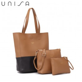 UNISA Colour Block Faux Leather Tote Bag Set Of 3-Brown