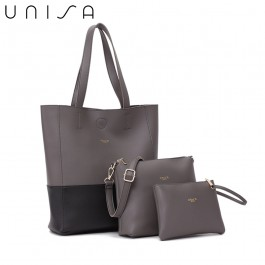 UNISA Colour Block Faux Leather Tote Bag Set Of 3-Grey