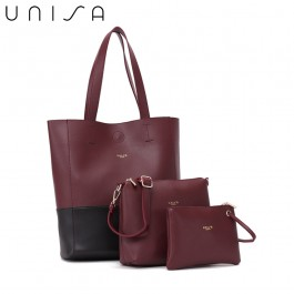 UNISA Colour Block Faux Leather Tote Bag Set Of 3-Maroon