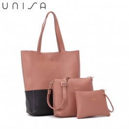UNISA Colour Block Faux Leather Tote Bag Set Of 3-Pink