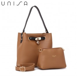 UNISA Colour Block Faux Leather Top Handle Bag Set-Brown