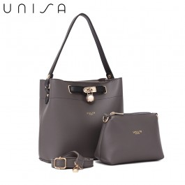 UNISA Colour Block Faux Leather Top Handle Bag Set-Grey