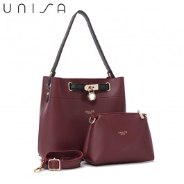 UNISA Colour Block Faux Leather Top Handle Bag Set-Maroon