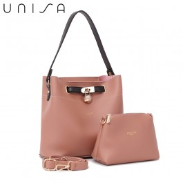UNISA Colour Block Faux Leather Top Handle Bag Set-Pink