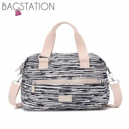 BAGSTATIONZ Printed Crinkled Nylon Convertible Top Handle Bag-Beige