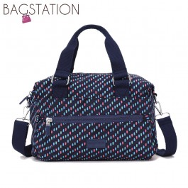 BAGSTATIONZ Printed Crinkled Nylon Convertible Top Handle Bag-Navy Blue