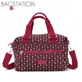 BAGSTATIONZ Printed Crinkled Nylon Convertible Top Handle Bag-Maroon
