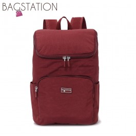 BAGSTATIONZ Crinkled Nylon Backpack-Maroon