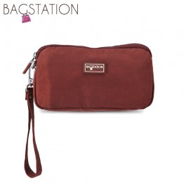 BAGSTATIONZ Crinkled Nylon Wristlet Pouch-Maroon