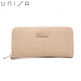 UNISA Saffiano Ladies Zip-Up Wallet-Beige