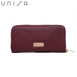 UNISA Pebbled Ladies Zip-Up Wallet-Maroon