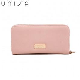UNISA Pebbled Ladies Zip-Up Wallet-Pink