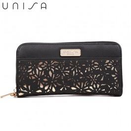 UNISA Perforated Facile Zip-Up Wallet-Black