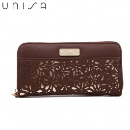 UNISA Perforated Facile Zip-Up Wallet-Brown
