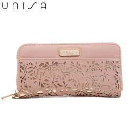 UNISA Perforated Facile Zip-Up Wallet-Pink