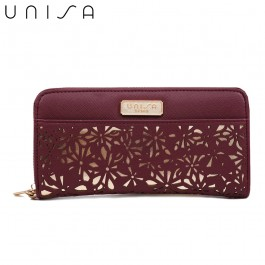 UNISA Perforated Facile Zip-Up Wallet-Purple