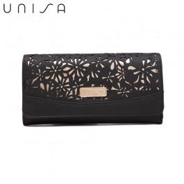 UNISA Perforated Facile Bi-Fold Wallet-Black