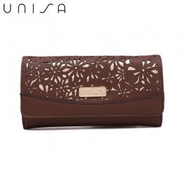 UNISA Perforated Facile Bi-Fold Wallet-Brown
