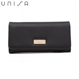 UNISA Faux Leather Bi-Fold Wallet-Black