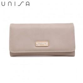 UNISA Faux Leather Bi-Fold Wallet-Grey