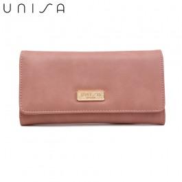 UNISA Faux Leather Bi-Fold Wallet-Pink