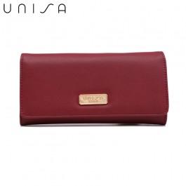 UNISA Faux Leather Bi-Fold Wallet-Red