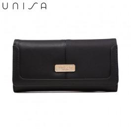 UNISA Faux Leather Contrast Edge Ladies Bi-Fold Wallet-Black