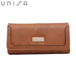 UNISA Faux Leather Contrast Edge Ladies Bi-Fold Wallet-Brown