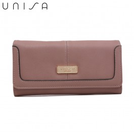 UNISA Faux Leather Contrast Edge Ladies Bi-Fold Wallet-Purple