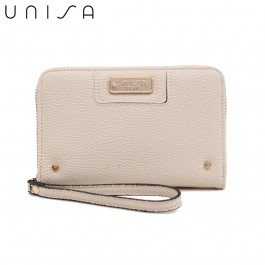 UNISA Pebbled Medium Ladies Zip-Up Wallet-Beige