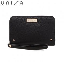 UNISA Pebbled Medium Ladies Zip-Up Wallet-Black