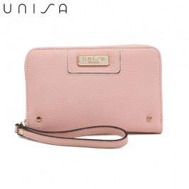 UNISA Pebbled Medium Ladies Zip-Up Wallet-Pink