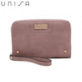 UNISA Pebbled Medium Ladies Zip-Up Wallet-Purple