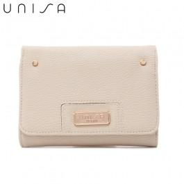 UNISA Pebbled Medium Ladies Tri-Fold Wallet-Beige