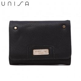 UNISA Pebbled Medium Ladies Tri-Fold Wallet-Black