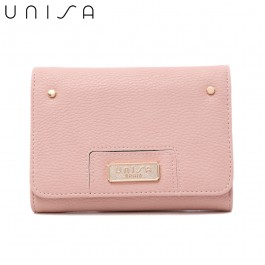 UNISA Pebbled Medium Ladies Tri-Fold Wallet-Pink