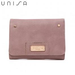 UNISA Pebbled Medium Ladies Tri-Fold Wallet-Purple
