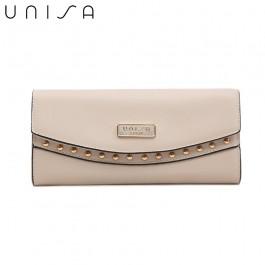UNISA Saffiano Ladies Bi-Fold Wallet-Beige